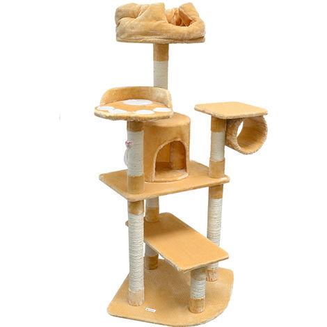 eyepower Árbol Rascador para Gatos XXL Hans altura aprox 155 cm | Torre para afilarse las garras trepar jugar dormir | columnas de sisal natural para rascar | revestimiento de peluche suave | Beis