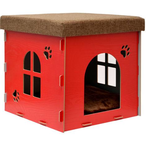 eyepower Caseta para Perro Gato 41x41x41cm talla mediana M cama caja cuadrada para mascota con tapa acolchada para sentarse puf escabel Rojo