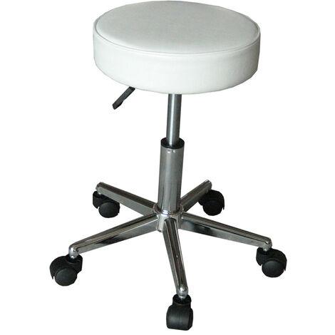 eyepower Tabouret de Travail MST-403 chaise pivotante 360° réglable en hauteur siège rembourré avec roulettes | poids supporté 120 kg | idéal pour coiffeur esthéticien cabinet médical | blanc