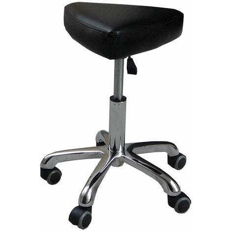 eyepower Tabouret de Travail MST-407 chaise pivotante 360° réglable en hauteur siège rembourré en forme de selle avec roulettes | poids supporté 120 kg | idéal pour coiffeur esthéticien cabinet médical | noir