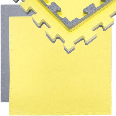eyepower Tapis Puzzle de Fitness 90x90cm Protection Sol de Sport en mousse EVA épais 20mm extensible réversible Gris Jaune