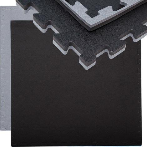 eyepower Tapis Puzzle de Fitness 90x90cm Protection Sol de Sport en mousse EVA épais 20mm extensible réversible Gris Noir
