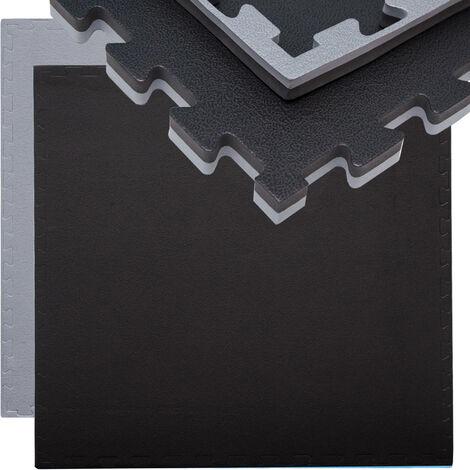 """main image of """"eyepower Tapis Puzzle de Fitness 90x90cm Protection Sol de Sport en mousse EVA épais 20mm extensible réversible Gris Noir"""""""