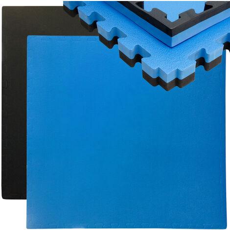 eyepower Tapis Puzzle de Fitness 90x90cm Protection Sol de Sport en mousse EVA épais 40mm extensible réversible Noir Bleu