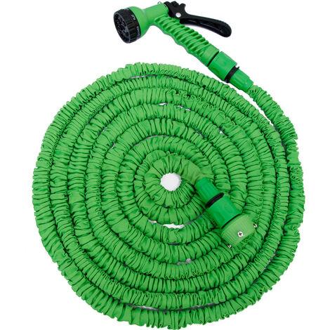 eyepower Tuyau d'Arrosage Élastique 7m-15m incl Pistolet d'arrosage 7 jets Tuyau d'Irrigation pour irriguer le jardin arroser les plantes