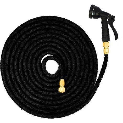 eyepower Tuyau pour Arroser élastique | Magic Hose extensible 3 fois sa longueur de 7,5m à 22,5m + Pistolet d'Arrosage | connecteurs en laiton | Noir
