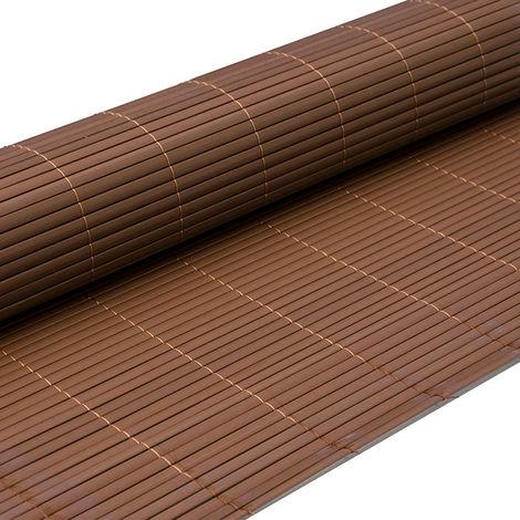 eyepower Valla de PVC 90x500cm | Pantalla de partición protectora privacidad viento sol decoración jardín balcón terraza | Estera de plástico semejante bambú | Marrón