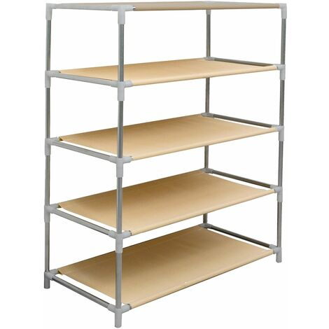 eyepower Zapatero de acero galvanizado color plata y tela Oxford 600D beige 77x63x30cm 5 estantes para guardar aprox 15 pares de zapatos calzado