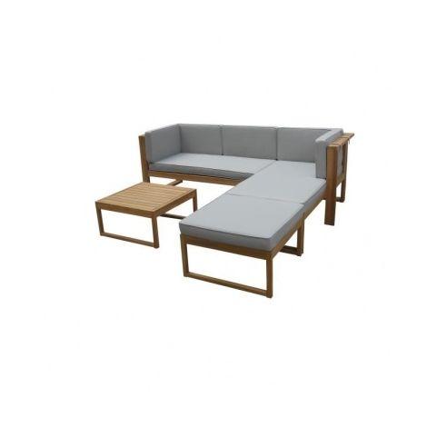 EZEIS Salon bas en acacia - 4 pieces modulaire - Marron ...