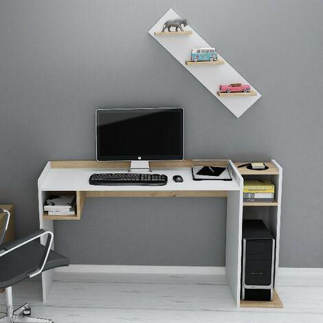 Ezgi Escritorio con estante con estantes - de sala, dormitorio, estudio, oficina - Blanco, Roble en Madera, 146,8 x 50 x 80 cm