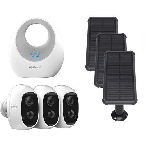 Ezviz - Pack 3 caméras C3A + Base + panneaux solaires - Blanc