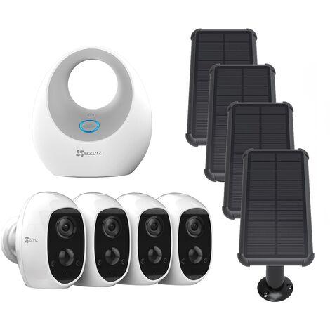 Ezviz - Pack 4 caméras C3A + Base + panneaux solaires - Blanc