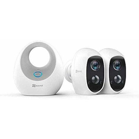 EZVIZ WiFi 1080p Cámara con Batería de Vigilancia Exterior/Interior, IP FHD Cámara de Seguridad Inalámbrica con Visión Nocturna, Audio Bidireccional, 5500mAh Recargable, Compatible con Alexa, C3A Duo