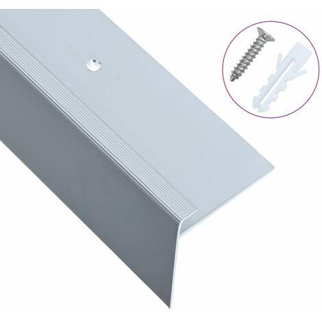 """main image of """"F-shape Stair Nosings 15 pcs Aluminium 90 cm Silver - Silver"""""""