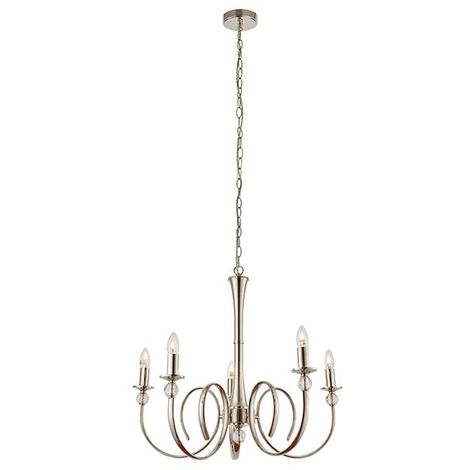 Fabia Traditional Look Chandelier 5 Light Pendant Ceiling Light Chrome Finish