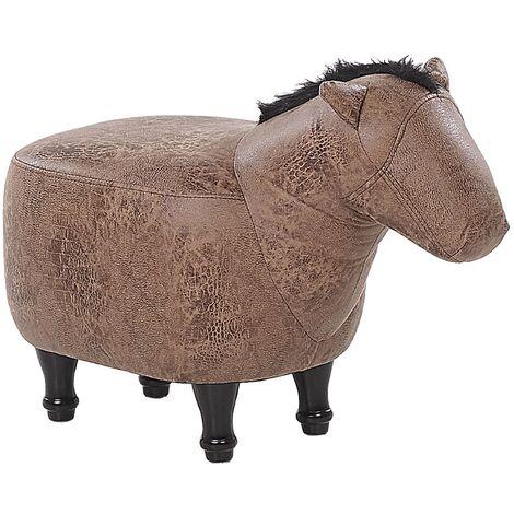 Fabric Animal Stool Brown HORSE
