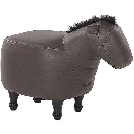 Fabric Animal Stool Dark Brown HORSE