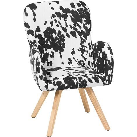 Fabric Armchair Black and White BJARN