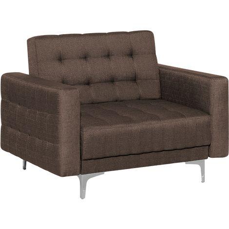 Fabric Armchair Brown ABERDEEN
