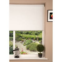 Fabric Blackout Window Blind - Bright White & Chrome - 180 x 160cm