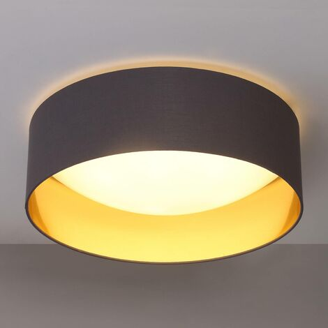 Fabric ceiling light Coleen in grey, gold inside