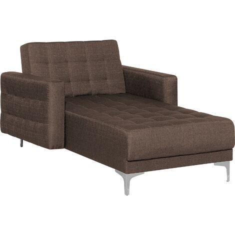 Fabric Chaise Longue Brown ABERDEEN