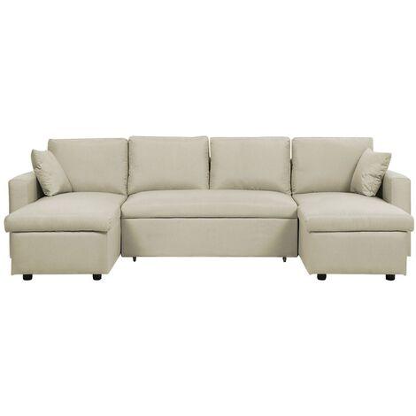 Fabric Corner Sofa Bed with Storage Beige SOMMEN