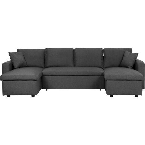 Fabric Corner Sofa Bed with Storage Dark Grey SOMMEN