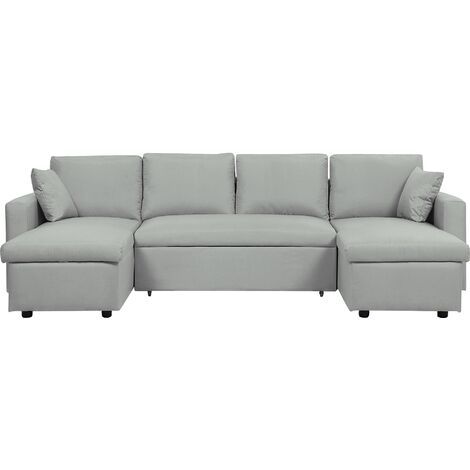 Fabric Corner Sofa Bed with Storage Light Grey SOMMEN