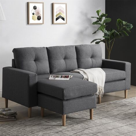 Fabric Corner Sofa Couch L Shape Sofa Settee, 3 Seater Sofa with Lounge Ottoman, Left & Right Hand Side(Grey)