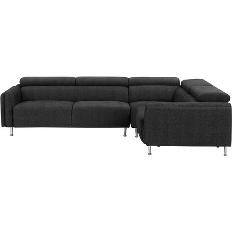 Fabric Corner Sofa Dark Grey HOSTON