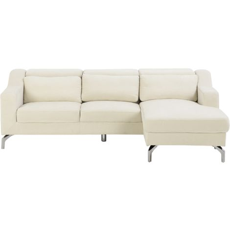 Fabric Corner Sofa Light Beige GLOSLI