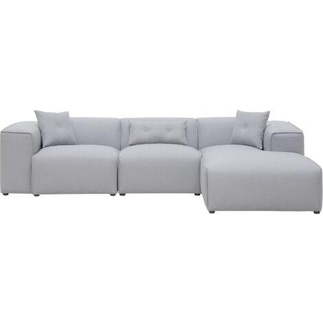 Fabric Corner Sofa Light Grey DOLVA