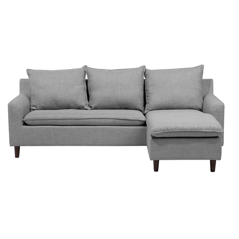 Fabric Corner Sofa Light Grey ELVENES