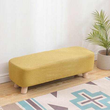 Fabric Cushioned Hallway Rest Stool Footstool Ottoman Padded Pouffe Chair Seat Yellow