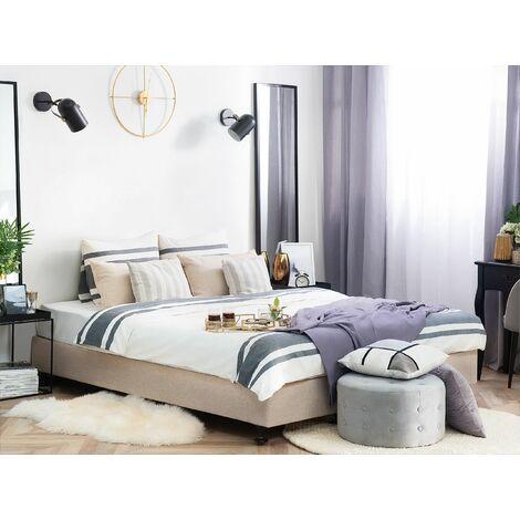 Fabric EU King Size Divan Bed Base Beige COLONEL