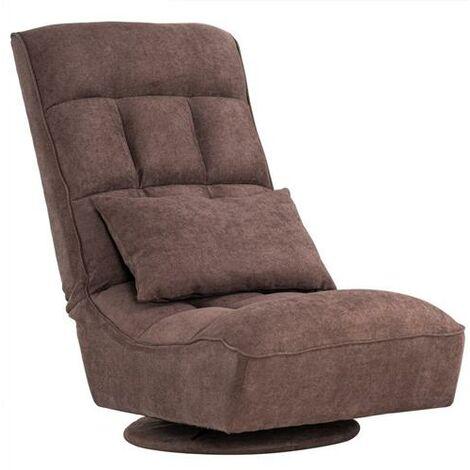 "Fabric Floor-Standing Backrest Adjustment Game Chair Single Sofa Lazy Chair Dark (21.6 x 23.6 x 37.6)""-Brown"