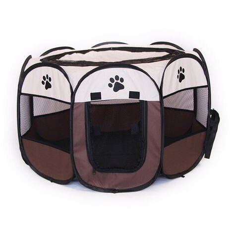 Fabric Folding Small Dog pen pop-up made of polyester - dog playpen, puppy pen, puppy playpen -brown