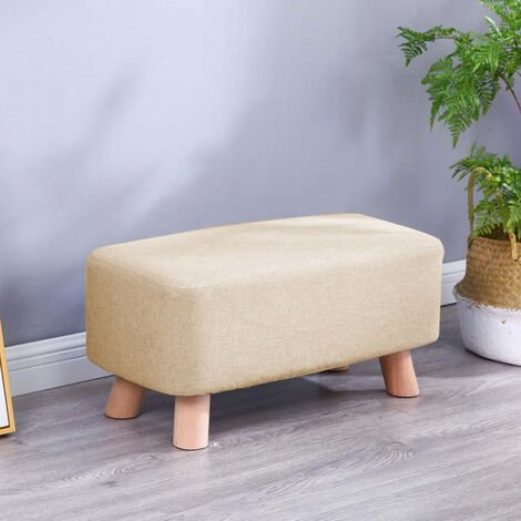 Fabric Footstool Bench Living Room Hallway Pouffe Seat Beige