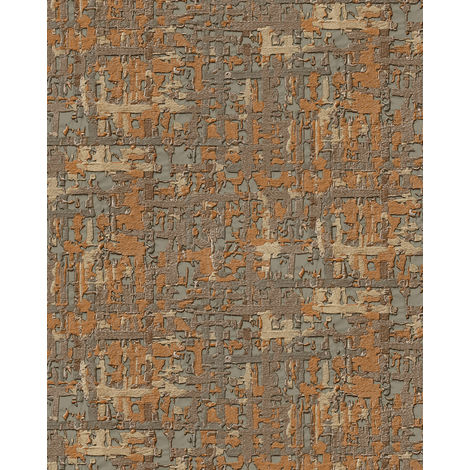 Fabric look wallpaper wall Profhome DE120096-DI hot embossed non-woven wallpaper embossed with a fabric look shimmering copper gold beige 5.33 m2 (57 ft2)