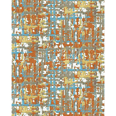 Fabric look wallpaper wall Profhome DE120098-DI hot embossed non-woven wallpaper embossed with a fabric look shimmering orange yellow blue brown 5.33 m2 (57 ft2)