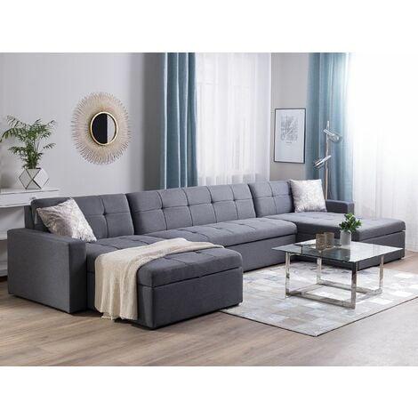Fabric Modular Corner Sofa Bed Grey LAURILA