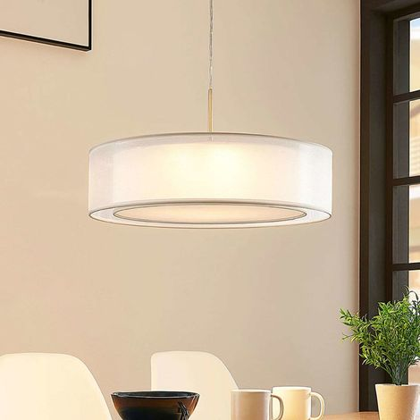 Fabric pendant light Amon, dimmable LEDs, white