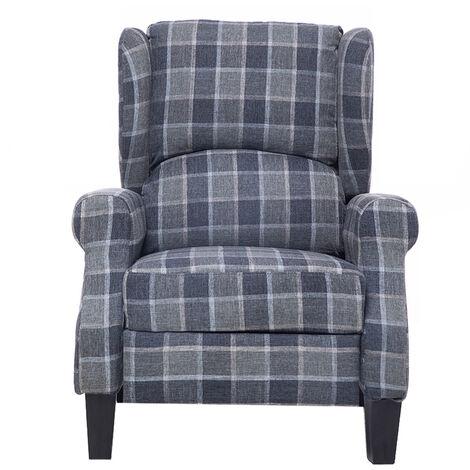 "main image of ""Fabric Recliner Armchair Sofa Chair 102X61X66cm Grey"""