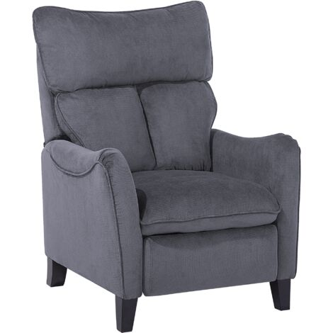 Fabric Recliner Chair Grey ROYSTON