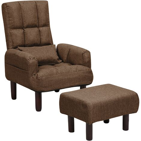 Fabric Recliner Chair with Ottoman Brown OLAND