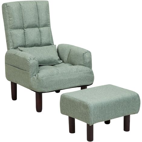 Fabric Recliner Chair with Ottoman Green OLAND