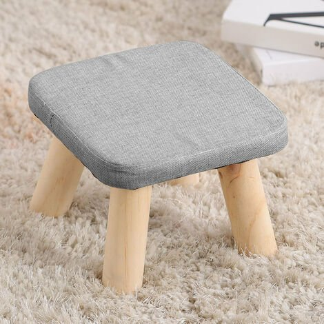 Fabric Rest Stool Footstool Foot Rest With Wooden Legs Pouffe Kids Seat