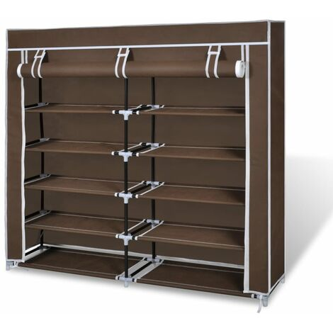 Fabric Shoe Cabinet with Cover 115 x 28 x 110 cm Brown
