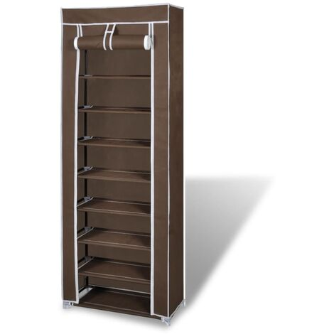 Fabric Shoe Cabinet with Cover 162 x 57 x 29 cm Brown - Brown